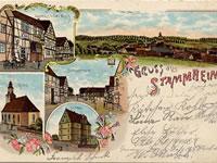 """Das Foto basiert auf dem Bild """"Florstadt-Stammheim um 1910"""" aus dem zentralen Medienarchiv Wikimedia Commons. Diese Bilddatei ist gemeinfrei, weil ihre urheberrechtliche Schutzfrist abgelaufen ist. Der Urheber des Bildes ist Enslin."""