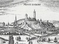 """Das Foto basiert auf dem Bild """"Burg Münzenberg in einem Kupferstich von Matthäus Merian""""aus dem zentralen Medienarchiv Wikimedia Commons. Diese Bilddatei ist gemeinfrei, weil ihre urheberrechtliche Schutzfrist abgelaufen ist. Der Urheber des Bildes ist Matthäus Merian."""